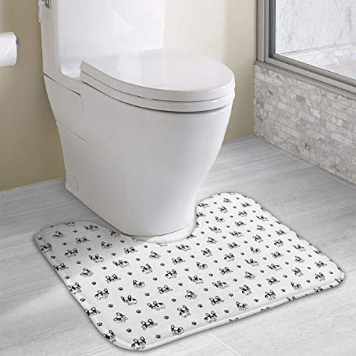 Hoklcvd Französische Bulldogge Pfote U-förmige Toilette Boden Teppich Rutschfeste Toilette Teppiche Duschmatte (Dodger Gnome)