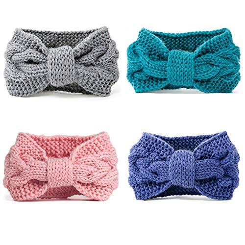DRESHOW 4 Piezas Crochet Arco Turbante Knit Diadema Mujer Invierno Vendas  Elasticas Anchas Tejida Lana Cintas ba623715a5e0