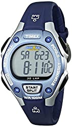 Timex Women s Ironman 30-Lap Digital Quartz Mid-Size Watch - White Blue/Silver-Tone