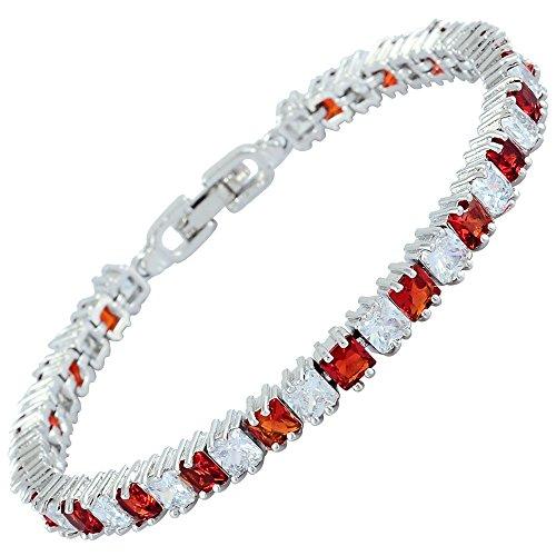 Rizilia Bijoux Square Cut Stone Stonestone Gemstone Fine 18K Plaqu¨¦ or [180mm / 7inch] Bracelet Tennis Modern Elegance [Bague de bijoux gratuit]