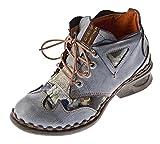 TMA Damen Leder Comfort Knöchel Schuhe 5155 Halb Schuhe Schwarz-Grau Blockabsatz Boots Gr. 42