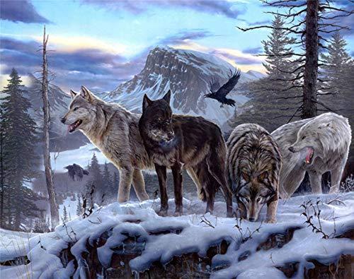 CNLSZM Voll Runde Snow Mountain Wolf Gruppe Diamant Malerei Kreuzstich Diamant Mosaik Diamant Stickerei Malerei Wandaufkleber 50x70cm