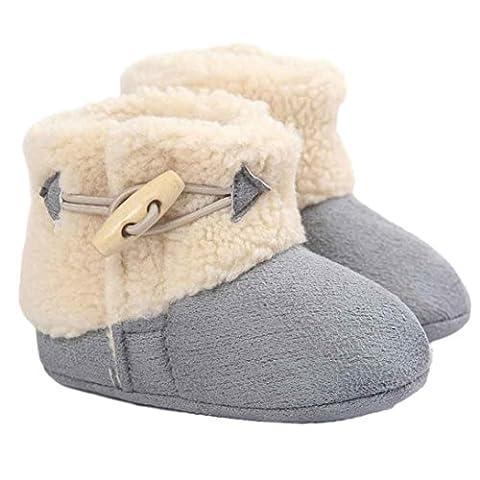 Chaussures Bébé Clode® Bébé garder au chaud doux Sole Bottes de neige molle Berceau Bottes Chaussures enfant (6 ~ 12 Mois, Gris)