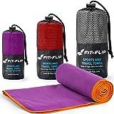 Fit-Flip Lila mit orangen Rand, 1x 140x70cm | Handtuch mikrofaser 70x140