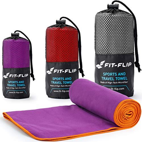 Fit-Flip Lila mit orangen Rand, 1x 200x100cm | Handtuch mikrofaser XL Handtuch mikrofaser bunt Handtuch mikrofaser mit Tasche