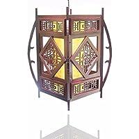 ZHGI Lampadario retrò antica pergamena lampada stile cinese del tè di legno in pendente casella