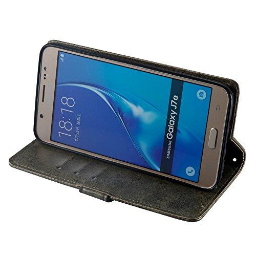 Custodia Samsung Galaxy J7 2016, ISAKEN Samsung Galaxy J7 Cover con Strap, Elegante borsa Dente di leone Design in Pelle Sintetica Ecopelle PU Case Cover Protettiva Flip Portafoglio Case Cover Protezi Cranio: grigio