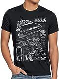 style3 DMC-12 Blaupause T-Shirt Herren Zeitreise 80er McFly Blueprint Auto Car, Farbe:Schwarz, Größe:4XL