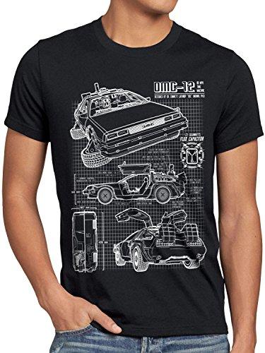 style3 DMC-12 Blaupause T-Shirt Herren Zeitreise 80er McFly Blueprint Auto Car, Größe:XXXL, Farbe:Schwarz