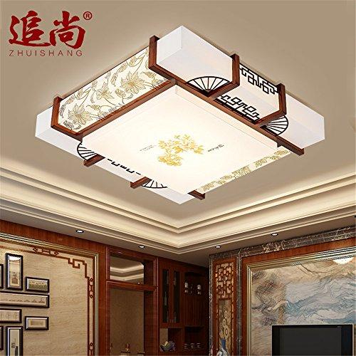 Moderne Deckenleuchte LED Deckenlampe chinesischen Deckenleuchte massiv holz lampe Imitation Lammfell Lampe antike Holz Beleuchtung chinesischen Beleuchtung Deckenleuchte, 500 mm