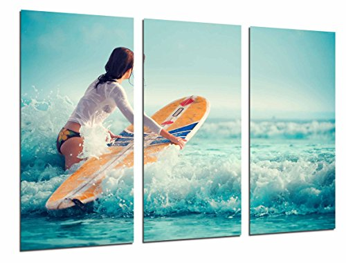 Cuadro Moderno Fotografico Mujer Surfista en el Mar, Depote, Chica, 97 x 62 cm, ref. 26700