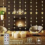 Sterne Lichterketten, 16 Sterne 144 LEDs anschließbar Vorhang String Eiszapfen Lichter mit 8 Modi Fernbedienung, Weihnachtsbeleuchtung für Fenster Innen Draußen Hochzeit Weihnachtsschmuck (2x1,5M)