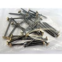 30 Stück Stahl-Nägel 20, 30, 40 mm gebläut gehärtet mit Messingkopf, Bildernägel