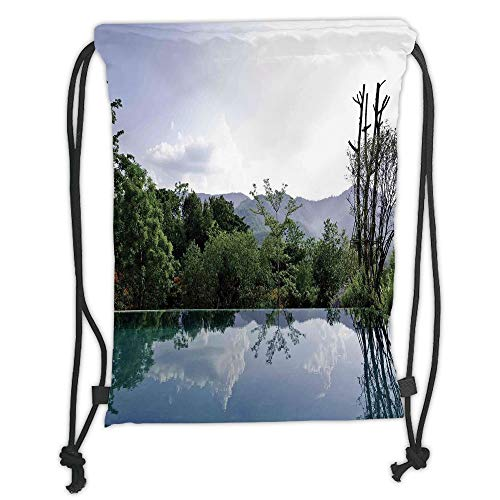 OQUYCZ Drawstring Sack Backpacks Bags,House Decor,Cloud and Tree Reflections on The Infinity Pool Forest Distant Hills Getaway, Soft Satin,5 Liter Capacity,Adjustable String Closure,The Stylis Infinity Muslin