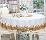 shinemoon decoración de la casa patio mesa de comedor armario Ronda Mantel Blanco Mesa cubre superposición para bodas con encaje, poliéster, With golden lace, Round, Diameter 220cm