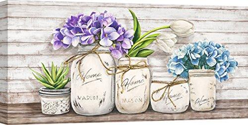 Art Print Cafe - Kunstdruck auf Leinwand - Blumen - Jenny Thomlinson, Hortensien in Mason Jars - 70x35 cm (Mason Jars Blumen In)