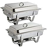 Profi Chafing Dish 2er Set Edelstahl Wasserbehälter, Speisenbehälter, Deckel und je 2 Brennpastenbehälter