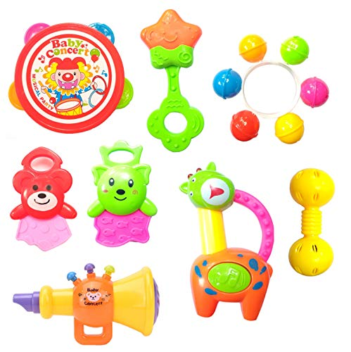Halo Nation Kid's Rattle and Musical Band - Baby Concert Toy Set - BPAfree and Non Toxic Rattle Toys for Toddlers (4 Rattles, 1 Trumpet & 2 Teether)