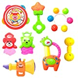 #9: Halo Nation Kid's Rattle and Musical Band - Baby Concert Toy Set - BPAfree and Non Toxic Rattle Toys for Toddlers (4 Rattles, 1 Trumpet & 2 Teether)