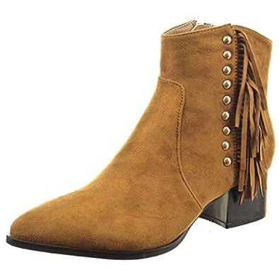 Sopily - Chaussure Mode Bottine Cavalier Cheville femmes clouté frange Talon bloc 4.5 CM - Camel - CAT-3-PN1513 T 41