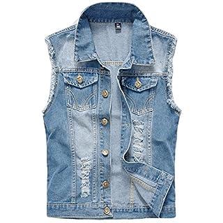 YOUTHUP Herren Jeans Denim Weste Fashion Jeans Casual Herren Freizeit Weste  (XL, Hell Blau 9e2f7636aa