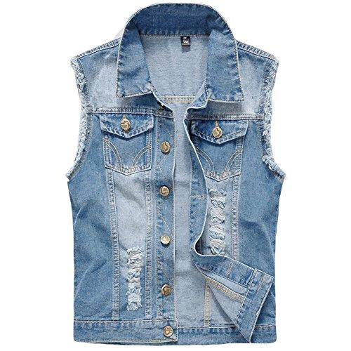YOUTHUP Herren Jeans Denim Weste Fashion Jeans Casual Herren Freizeit Weste Pullover Weste