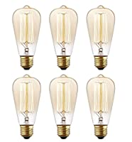 Morntek 40W Vintage Antique Style Edison Bulb - 6 Pack - ST64 - Squirrel Cage Filament - 130 Lumens - Dimmable from Morntek
