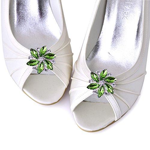ElegantPark AJ Damen Passenden Fashion Tanzschuh Party Schuhe Clutch Tasche Hat Kleider Strass Schuh clips 2 St¨¹ck Grün