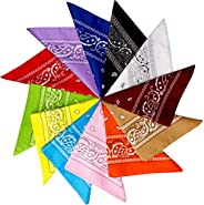 Cubaco 12 Pack Bandanas for Women and Men, Print Paisley Bandana for Hair Covering, Headband, Necktie and Pock