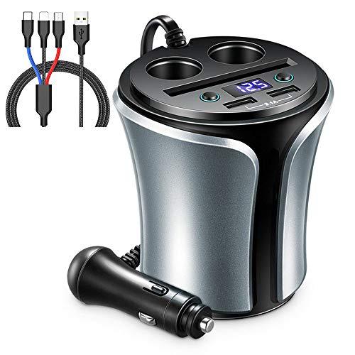 ZDZHU Dual-USB-Autoladegerät - Kfz-Netzteil mit 2 USB-3.1A-Anschlüssen + 2 Kfz-Zigarettenanzünder + Kfz-Spannungsprüfer + Kartensteckplatz + 3-in-1-Ladekabel für iPhone/Samsung/GPS/Dash Cam Gps-adapter Home Wand -