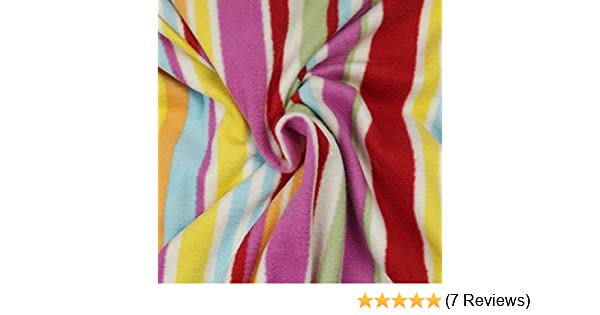 QUALITY Anti Pil Polar Fleece Fabric Material PINK STRIPE