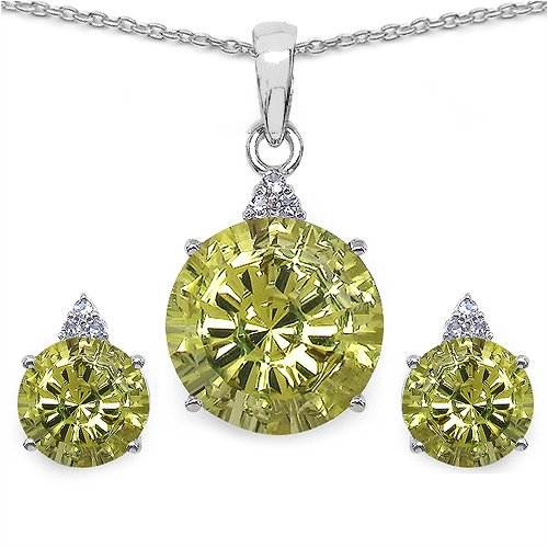 Johareez 10.43 CTW Genuine Lemon Topaz & White Cubic Zirconia .925 Sterling Silver Carving Pendant Set