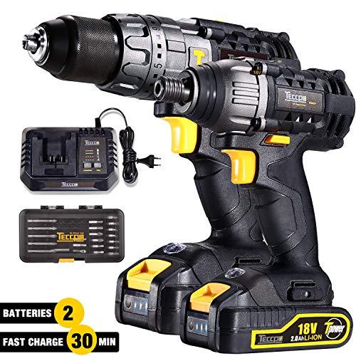 Taladro Percutor a Bateria, TECCPO Professional 60Nm taladro bateria, 180Nm Atornillador a Bateria, 2 Baterias 2.0Ah, 30min Cargador Rapido, 29pcs-TDCK01P