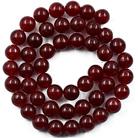 8 Millimetri Bordeaux Rubino Giada Rossa, Rendendo Il Perle Tonde Pietra Preziosa Filo Da 15 Pollici