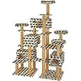 TecTake Katzen Kratzbaum Katzenbaum XXL | Stämme komplett mit Kokosseil umwickelt | 214cm hoch - Diverse Farben (Beige mit Tatzen | Nr. 402806)