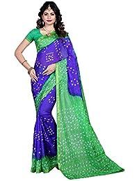 Shree Sondarya Bandhani Blue And Green Tussar Silk Bandhani Saree With Blouse Piece