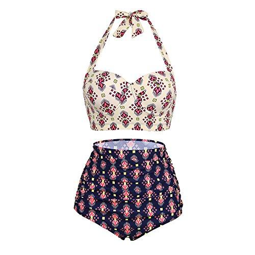 Lover-Beauty Women Sexy Bikini Set High Waisted Swimwear Two Piece Halter Neck Floral Swimsuit