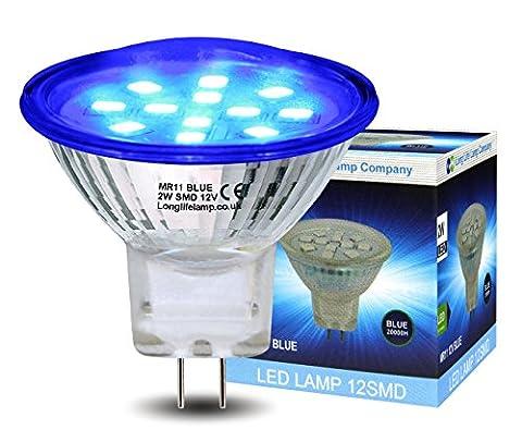 2w LED MR11 Blue Light Bulb 12v 35mm Replacement For Low Voltage Halogen Spot Lamp