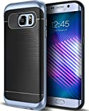 Caseology Galaxy S7 Edge Hülle, [Wavelength Serie] Schlanke Dopellagige Schutzhülle mit Textur Sicherer Griff [Schwarz/Blaue Koralle - Black/Blue Coral] für Samsung Galaxy S7 Edge (2016)