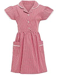 fb68de95793c Girls School Dress Ex Marks and Spencer 100% Cotton Gingham Blue Red Yellow  Size UK