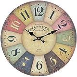 Reloj de pared - Cafe Tour - reloj de cocina de madera con esfera grande de MDF, reloj retro en diseño de moda Shabby Chic con mecansimo de quarzo silencioso, Ø: 32 cm
