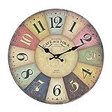 Orologio da muro - Cafe Tour - Silenzioso orologio da cucina in legno con grande quadrante in MDF, Orologio retro con design shabby chic alla moda con meccanismo silenzioso al quarzo, Ø: 32 cm