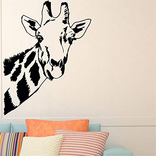 wlwhaoo Giraffe Kopf Wandaufkleber Tier Wohnkultur Abnehmbare Kinder Kinderzimmer Dekoration Wandtattoos Wandbilder Kaffee 76 cm x 59 cm (Venom-kopf)