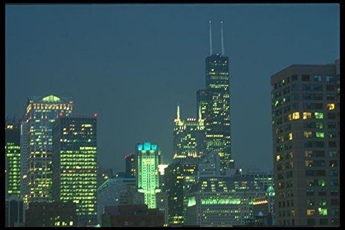 212000 Chicago Night Skyline Looking South From N State St A4 Photo Poster Print 10x8