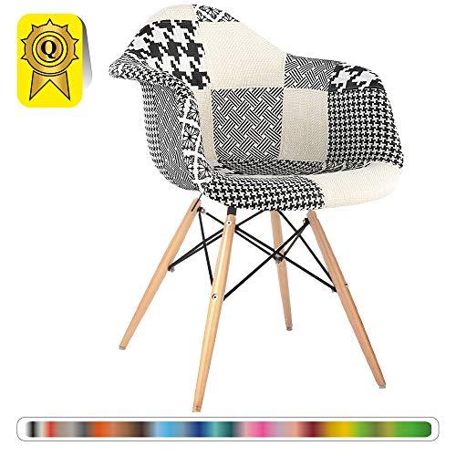 ign-Sessel Skandinavischer Design Natürliches Buche Beine. Sitz B & W Patchwork DP-DAWL48-PN-1 ()