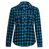 YULAND Damen T-Shirt, Sommer Tops Bluse Casual Lose Oberteil - Tartan Plaid Flanellhemden Roll-up Ärmel Casual Tops Button-Down-Bluse (Blau, S)