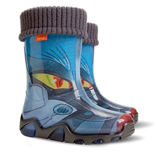 Demar Boys Girls Kids Warm Fleece-Lined Transformer Wellington Boots Wellies