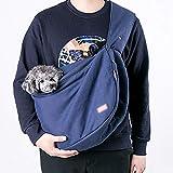 Teng Peng Tierreisetasche, Reisetasche Transporttasche, tragbare Brusttasche für Haustiere, Aufschluss, Haustier aus Sling (grau, Marineblau) Haustier liefert Haustierbeutel