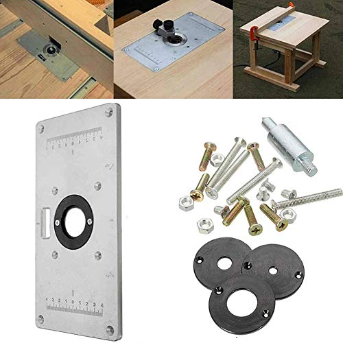 Ohwens Trimming Board,Aluminum Router Table Insert Plate for Woodworking Benches with 1 Router Table Insert Plate+12 Screws+4 Nuts+3 Router Insert Rings