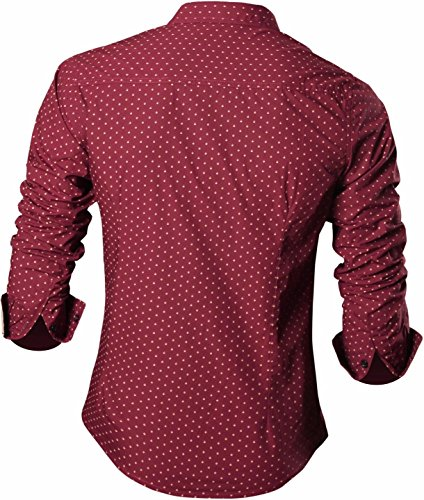 Jeansian Homme Chemises Casual Manches Longues Mode Men Fashion Slim Fit Long Sleeves Dress Shirt MAJ002 WineRed